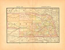 Original 1884 Map of Nebraska by McNally