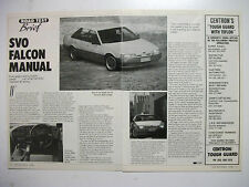 FORD EA FALCON SVO 5SPEED MANUAL 2 PAGE MAGAZINE ROAD TEST ARTICLE