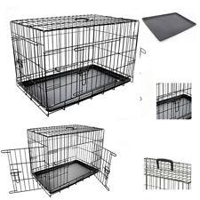 """Dog Pet Training Transport crate Fold Flat cage Removable Tray Medium 30"""" UKED"""