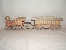 UNIQUE READING RR CERAMIC TRAIN STEAM ENGINE, COAL TENDER & PASSENGER CAR ~ RARE