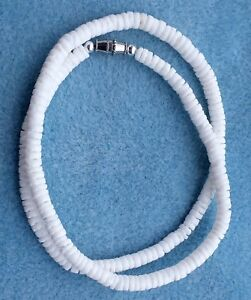 Surfer White Clam Puka Shell Beach Surfer Necklace 18 inch