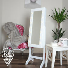 White Standing Jewellery Mirror Cabinet With LED Lights & Memo Storage for Kids