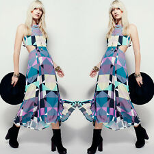 Lady Long Party Cocktail Backless Dress Sexy Summer Casual Maxi Boho Beach Dress