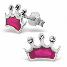 Children's Girls Pink Crown Stud Earrings, 925 Sterling Silver, Silk Pouch