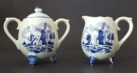 Vintage Sugar and Creamer Set Delft Blue Holland Dutch Windmill Made in Japan