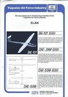 Aircraft Data Sheet - Yugoslavia - DG-101 300 500 Elan Glider - Brochure (B608)