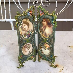 Michal Negrin Vintage Antique Victorian Style Floral 2 Panels Picture Frame #2