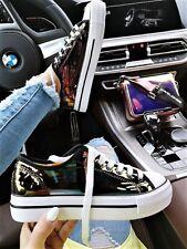 NEU GR 41 ♡ Reflex Hologramm Sneakers Schimmer Metallic Turnschuhe Schwarz Italy