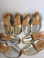 Metallic Silver/ Gold  Spanish Leather Avarca Summer Holiday Beach Sandals 2019