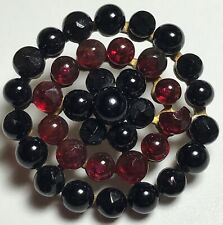 Antique Glass Button Red and Black Glass Riveted Like Steels