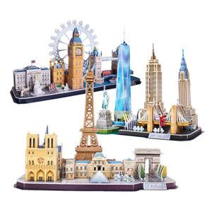 3D Puzzles Architecture Building Model Kits Assemble Game Toys Building Blocks