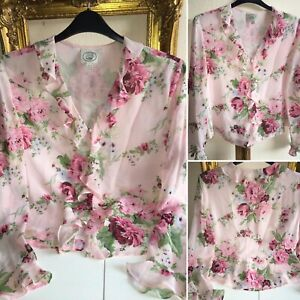LAURA ASHLEY Vintage Size 16/18 Beautiful Pink Silk Chiffon Floral Rose Blouse