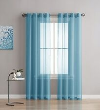 NEW - Linen Zone 2-Piece 54-Inch-by-84-Inch Grommet Sheer Panel Curtains, Teal