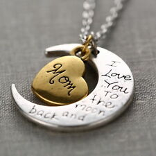 White /Gold Plated 'I LOVE YOU TO THE MOON AND BACK MOM' Necklace Pendant UK