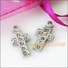 5 New Cross Charms Crystal Dull Silver Pendants Craft DIY 10.5x18.5mm