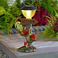 Solar Powered LED Robin Welcome Lamp Post Light Decorative Garden Bird Ornament