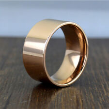 Men Women 10mm Wide Band Stainless Steel Ring Big Cool Band High Polished Flat