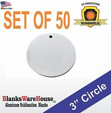 "50 Pieces 3"" Circle, SUBLIMATION BLANKS -  .025 GAUGE,  w/ HOLE, trophy supply"