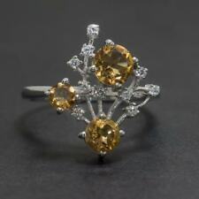 Natural .82ctw Citrine & White Sapphire 925 Sterling Silver Ring Size 8