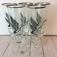 Federal Glass Canada Goose Pilsner Glasses Silver Rimmed Sportsman Set Of 5 Stem