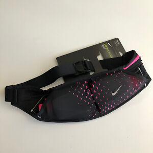 Nike Double Flask Running Belt, Black/pink Pocket  20 Oz New