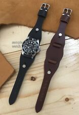 Cow Leather Vintage Cuff Watch Strap/Band fit Wire Lug Size 16/18/19/20mm (130)