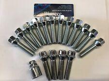 12 x M14X1.25 Argento esteso BULLONI CERCHI IN LEGA + 4 X LUCCHETTI 43 mm FILO Fit Mini