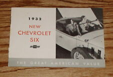 1932 Chevrolet Car Full Line Sales Brochure 32 Chevy Coupe Roadster Cabriolet