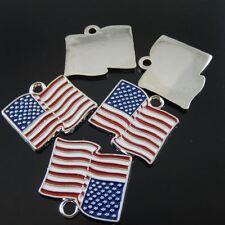 3 pcs Enamel Metal American Flag Pendant Charm Jewelry Accessories 24x22mm