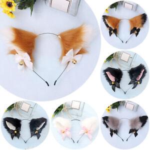 Cat Fox Fur Ears Lolita Headband Anime Cosplay Hair Clip Party Halloween Costume