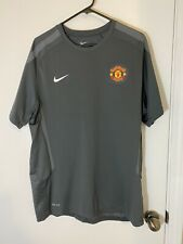 Manchester United Training Top T Shirt Size Large Nike Dri-Fit In Grey Mens