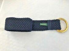 Ralph Lauren Women's D Ring Woven Cord Nylon Belt Navy Blue Gold Buckle (5)