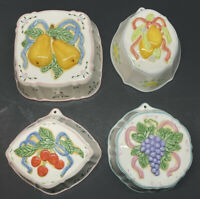 Set Of 4 Vintage Kitchen Ceramic Wall Hanging Molds Plaque Fruit Pears Cherries