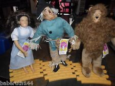 """LOT 3 DOLLS WIZARD OF OZ 1987 HAMILTON GIFTS PRESENTS 14"""" FIGURES & STAND & TAGS"""