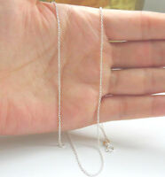 """Solid sterling Silver 925 18""""  Cable Chain Necklace Thin Plain - Rhodium Coated"""