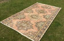 4x8 ft Oushak Area Rug Handknotted Traditional Turkish Vintage Wool Kilim Runner