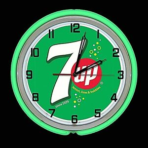 "19"" 7UP Green with Bubbles Sign Double Green Neon Clock Man Cave Garage Bar 7 UP"