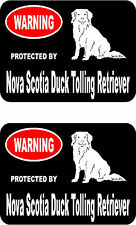 2 protected by Nova Scotia Duck Tolling Retriever dog home window vinyl stickers
