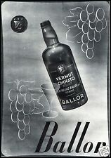 PUBBLICITA' 1943 BALLOR VINO VERMOUTH CHINATO TORINO S.A.FREUND WINE UVA VITE