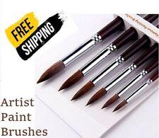 Kolinsky Sable Watercolor Art Painting Brush Round 6 Brushes Professional - Fs