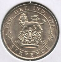 Great Britain 1916 Silver Coin Sixpence - King George V - BC397