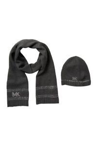 Michael Kors Stud Stripe Hat Scarf Set Black Silver Retail price $88 New