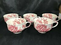 Set of 5 Vintage Red Transferware England Floral Teacups