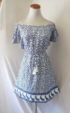 NEW WHITE & BLUE Prairie FLORAL OFF the SHOULDER Mexican WANDERLUST Boho DRESS S