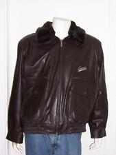 GUESS LEATHER AVIATOR BARREL BOMBER FLIGHT JACKET FAUX FUR COLLAR BROWN SIZE XL