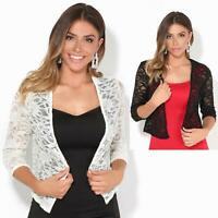Women Ladies Sequin Lace Party Shrug Evening Bolero Cocktail Jacket Wrap Wedding