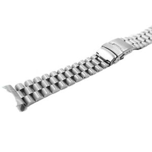 22mm Silver Hollow Curved End Watch Band President Bracelet For Seiko SKX007/009