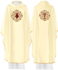 White Embroidered Catholic Chasuble Vestment & Stole Sacred Heart & Chalice