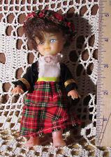 "International Beauty Scottish Girl Doll 5"" Tall ""HONG KONG"" Vintage w 4 pc Oufit"