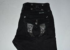 Miss Me Jeggings Black With Sequenced Angel Wing Pockets Size 25